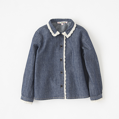 【SALE 30%OFF】BONPOINT 2018AW キッズ JANTINA レーストリムデニムブラウス(078A デニム)6A-8A